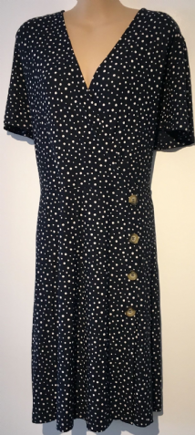 NEXT NAVY SPOTTY BUTTON TEA DRESS BNWT SIZE UK 22